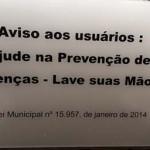 Lei municipal obriga a existência de avisos para lavagem das mãos